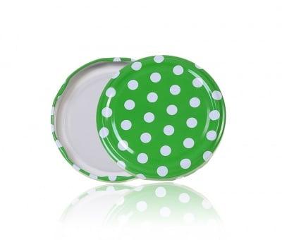 Туист оф капачка зелена на бели точки